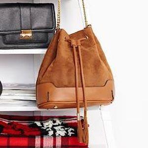 Faux Suede Cognac Bucket Bag